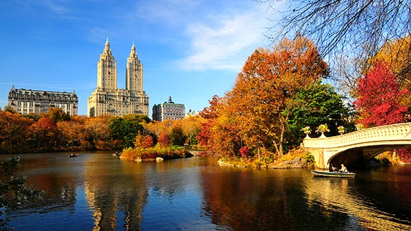 Skyline view of Central Park New York bridge and lake in the Fall