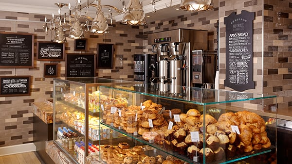 Interior view of Central Market's pastries and menu