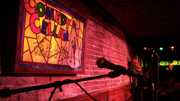Interior view of Comedy Cellar stage and microphone