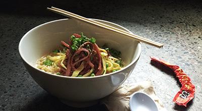 Bowl of ramen and chopsticks