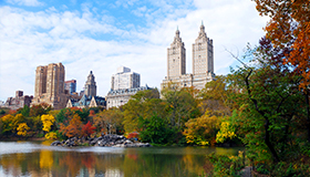 Skyline view of Central Park and lake