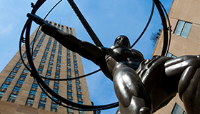 View of statue at Rockefeller Center