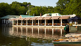View of Central Park Boathouse and boat