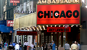 Street view of Ambassador Theatre featuring Chicago