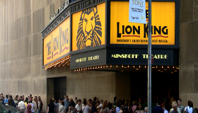 Street view of Minkoff Theatre featuring Lion King